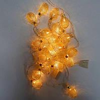 Гирлянда Овал средний сетка Золото LED 20