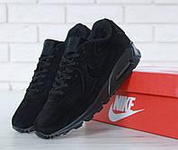 Кроссовки мужские зимние низкие на меху замшевые черные брендовые Найк Air Max