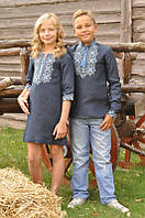 Парные детские вышиванки платье и рубашка темно-синие