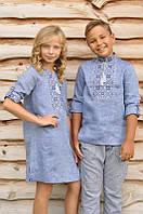 Парные детские вышиванки платье и рубашка голубые