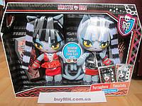 Набор Monster High  Purrsephone Meowlody Wherecat Twins Plush Пурсефона и Мяулодия плюшевые