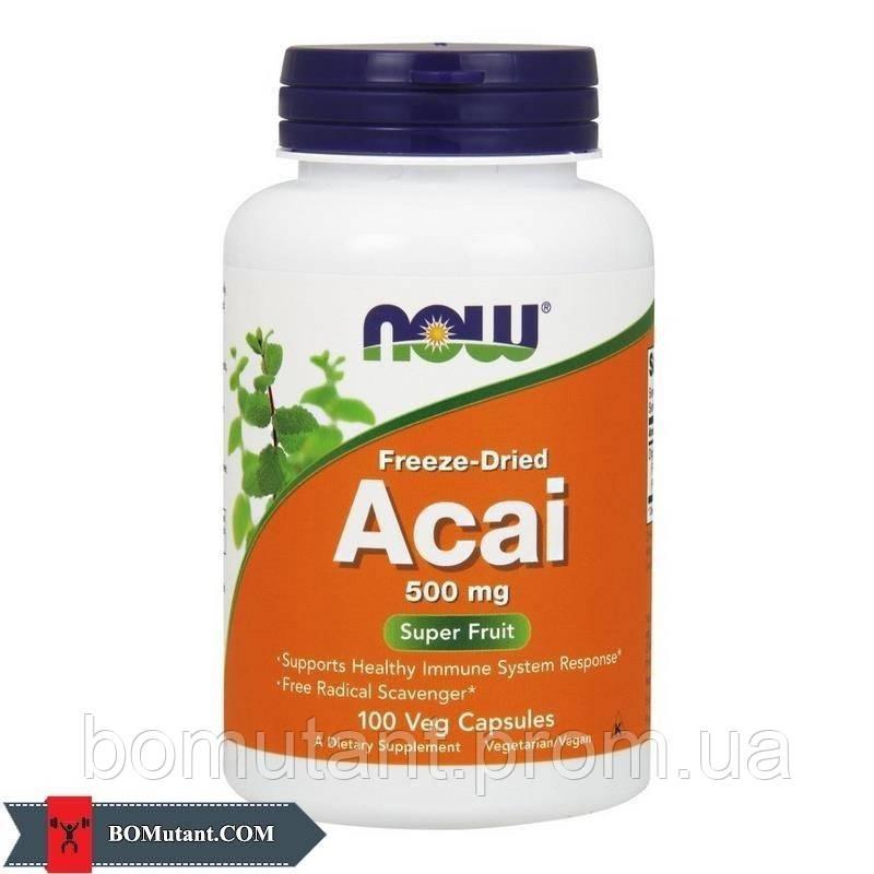Acai 500 mg freeze-dried 100 vegveg caps NOW шоколад-кокос