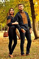 Парные вышиванки мужская рубашка и женская блуза темно-синие