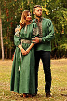 Парные вышиванки мужская рубашка и женское платье зеленые