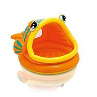 Детский надувной бассейн Intex 57109 «Ленивая рыбка» с навесом, 124 х 109 х 71 см