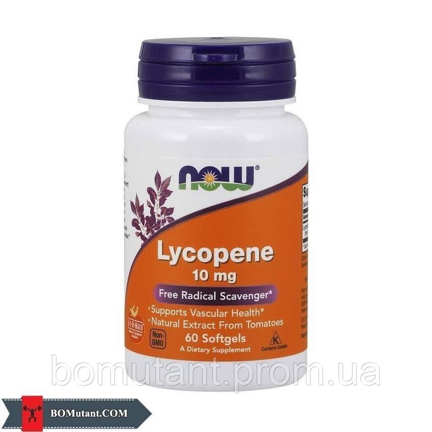 Lycopene 10 mg 60капсулы NOW шоколад-кокос