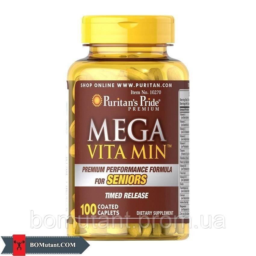 Mega Vita Min for Senior 100caplets Puritan's Pride шоколад-кокос