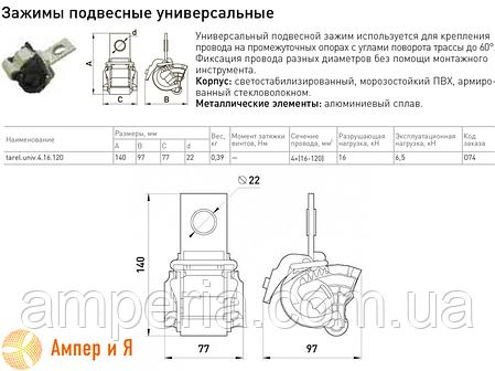 Універсальний затискач підвісний tarel.univ.4.16.120 4х(16-120) E. NEXT, фото 2