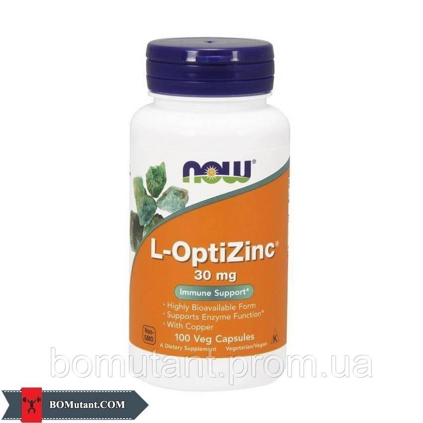 L-OptiZinc 30 mg 100капсулы NOW шоколад-кокос
