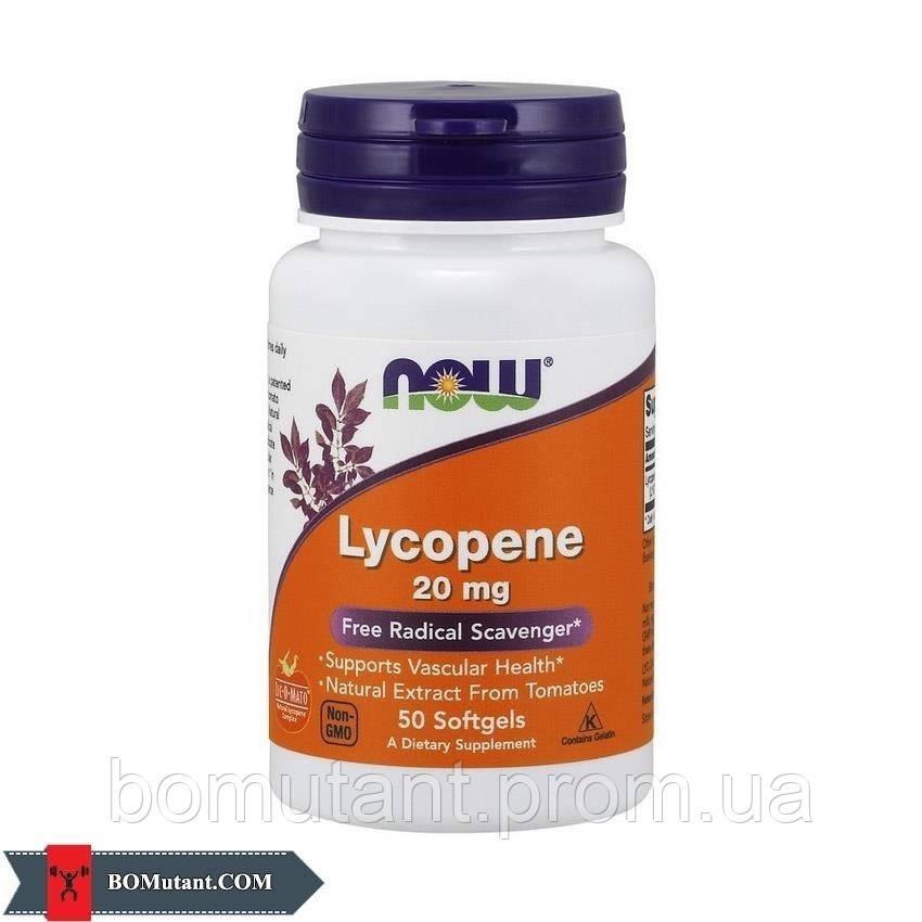 Lycopene 20 mg 50капсулы NOW шоколад-кокос