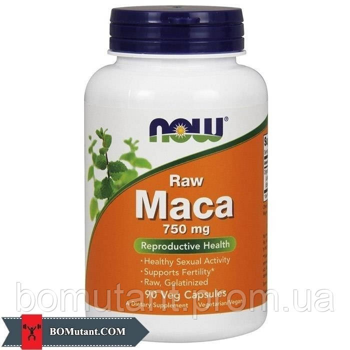Maca 750 mg raw 90 vegveg caps NOW шоколад-кокос