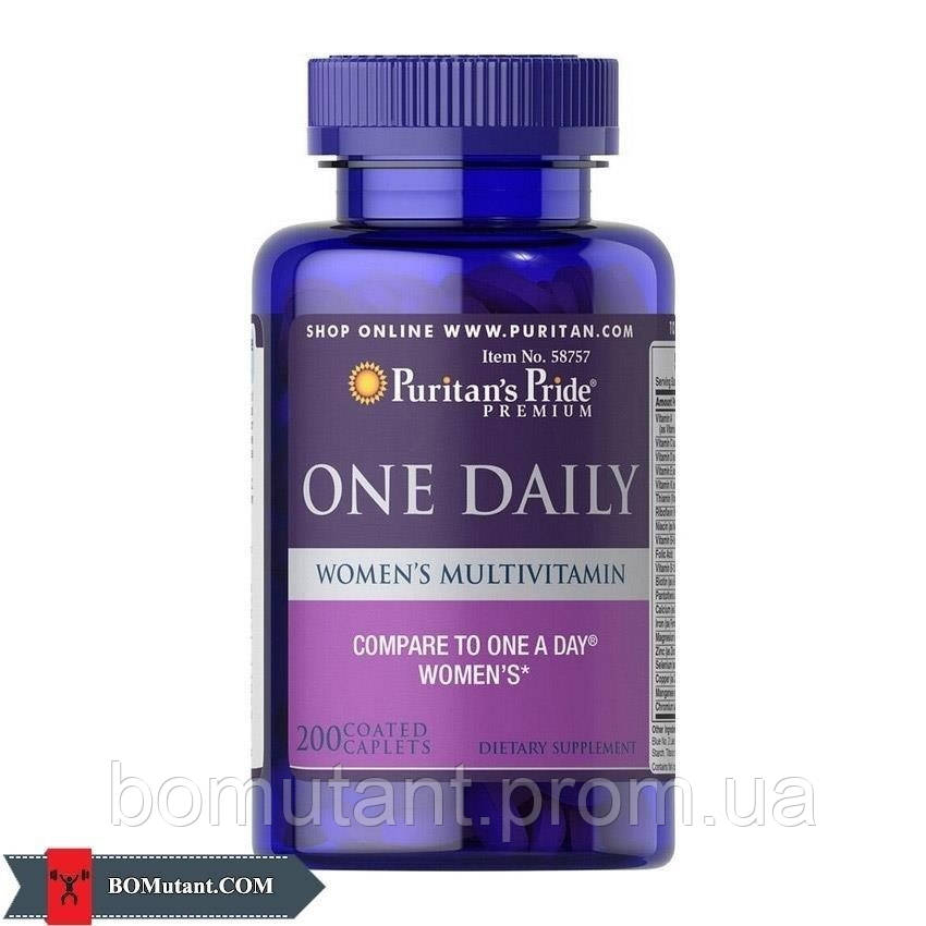 One Daily Women's Multivitamin 200caplets Puritan's Pride шоколад-кокос