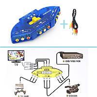 3-канальный RCA свич, селектор AV до четырех устройств