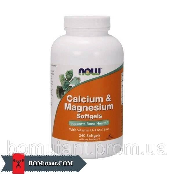 Calcium & Magnesium with vit. D and Zinc 240капсулы NOW шоколад-кокос