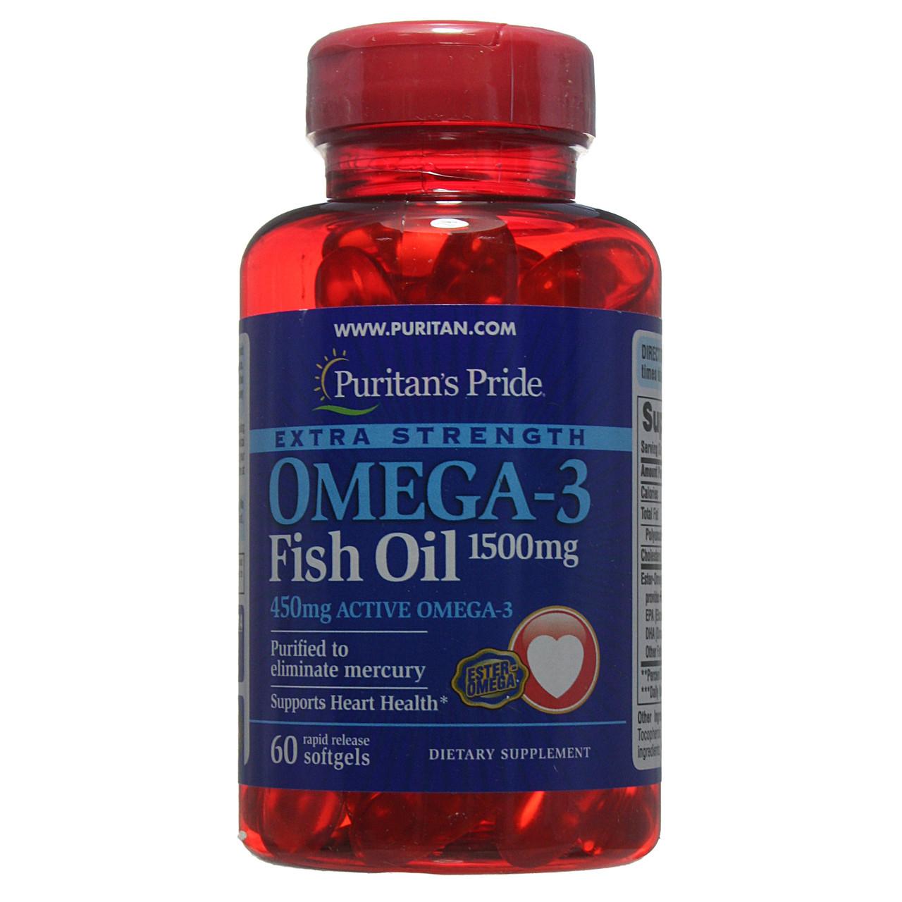 Омега-3 рыбий жир, Extra Strength Omega-3 Fish Oil 1500 mg (450 mg Active Omega-3), Puritan's Pride, 60 капсул