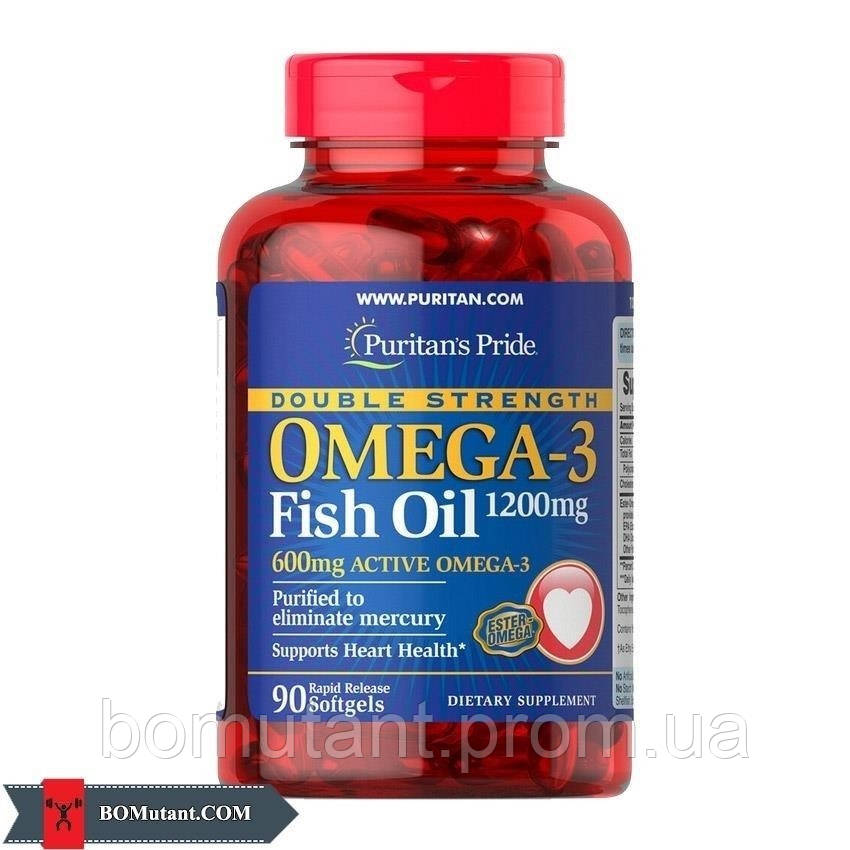 Omega-3 Fish Oil 1200 mg double strength 90капсулы Puritan's Pride шоколад-кокос