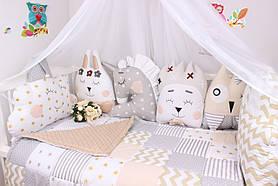 Комплект в ліжечко з тваринками в бежевих тонах