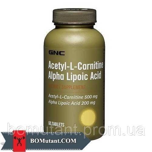 Acetyl-L-Carnitine Alpha-Lipoic Acid 60капсулы GNC шоколад-кокос