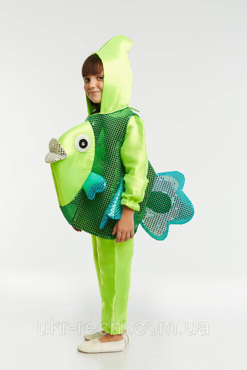 Детский карнавальный костюм Рыбка зеленая код 1209