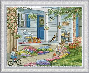 Набор для вышивания нитками Летний домик