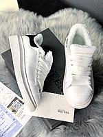 Зимние Кроссовки Alexander MCqueen White leather Black Suede (Мех)