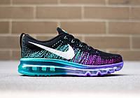 Женские кроссовки Nike Air Max Flyknit, беговые кроссовки найк аир макс флайнит черно-фиолетовые
