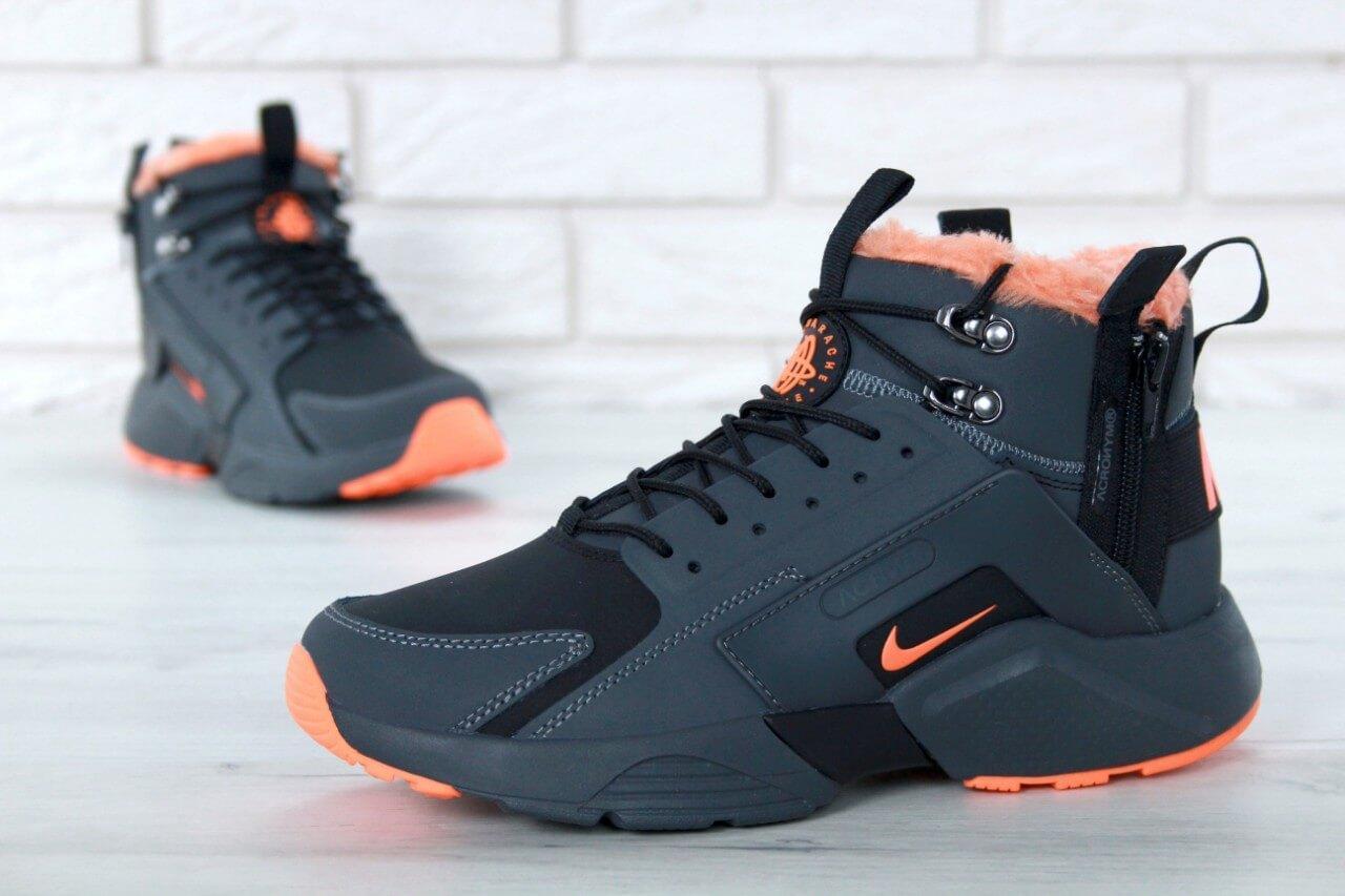 b5871da89 ... Кроссовки с мехом Nike Huarache X Acronym City Winter Grey Orange, ...