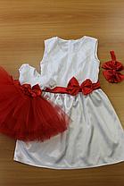 """Нарядные платья на маму и доченьку в стиле """"Family Look"""" - Бело красные"""