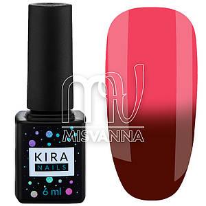 Гель лак Kira Nails Termo №03, 6 мл в холоде красно-коричневый при нагреве малиновый