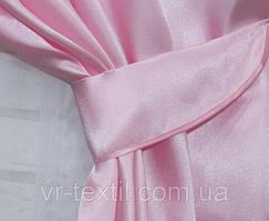 Однотонная ткань атлас. Ширина в рулоне 1,5м. Цвет розовый. 06ша