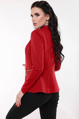 """Элегантный женский классический пиджак без застежки """"Jacqueline"""" красный, фото 2"""