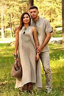 Комплект из натурального льна – мужская рубашка с коротким рукавом и женское длинное платье, фото 1