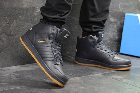 Мужские кроссовки на меху Adidas Cloudfoam темно-синие топ реплика, фото 2 a0190f95e2b