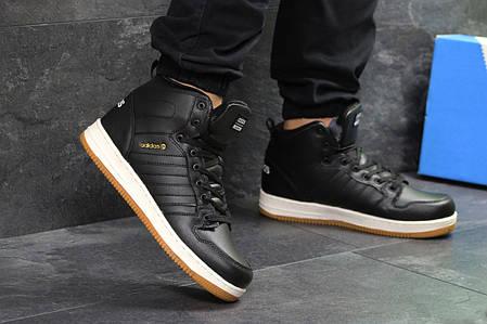 Мужские кроссовки на меху Adidas Cloudfoam черно-белые топ реплика, фото 2 58fdccca0e4