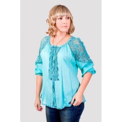 Блуза женская с ажурными вставками (Большие размеры)