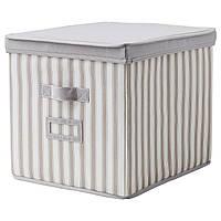 СВИРА Коробка с крышкой, серый, белый полоска, 33x39x33 см, 80290289, IKEA, ИКЕА, SVIRA