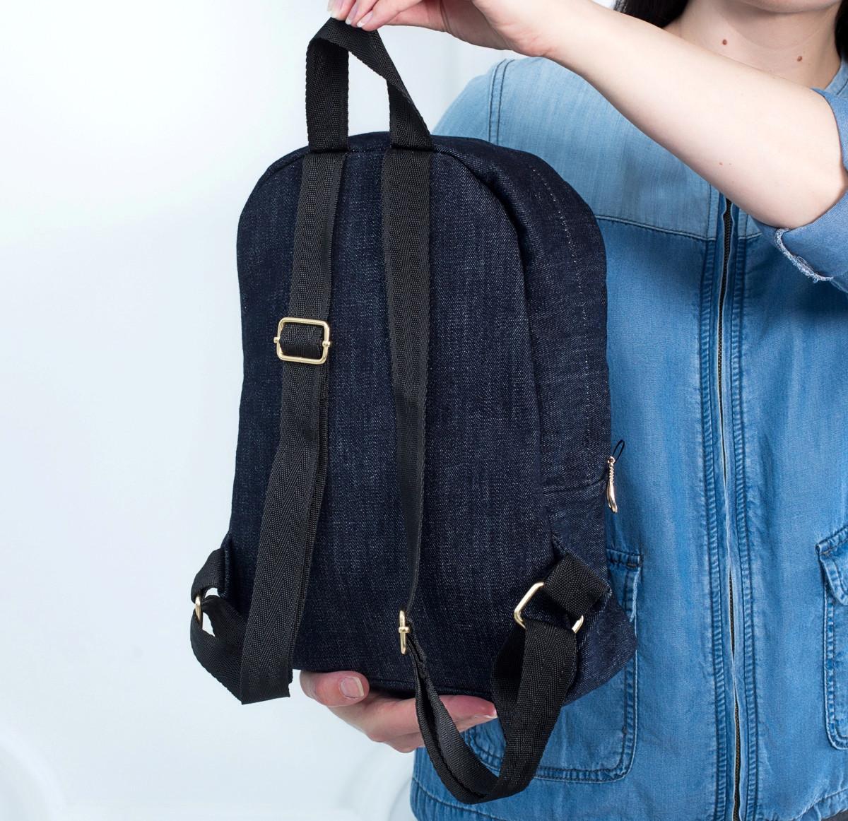 Стильный женский джинсовый рюкзак Mayers, темно-синий, фото 2