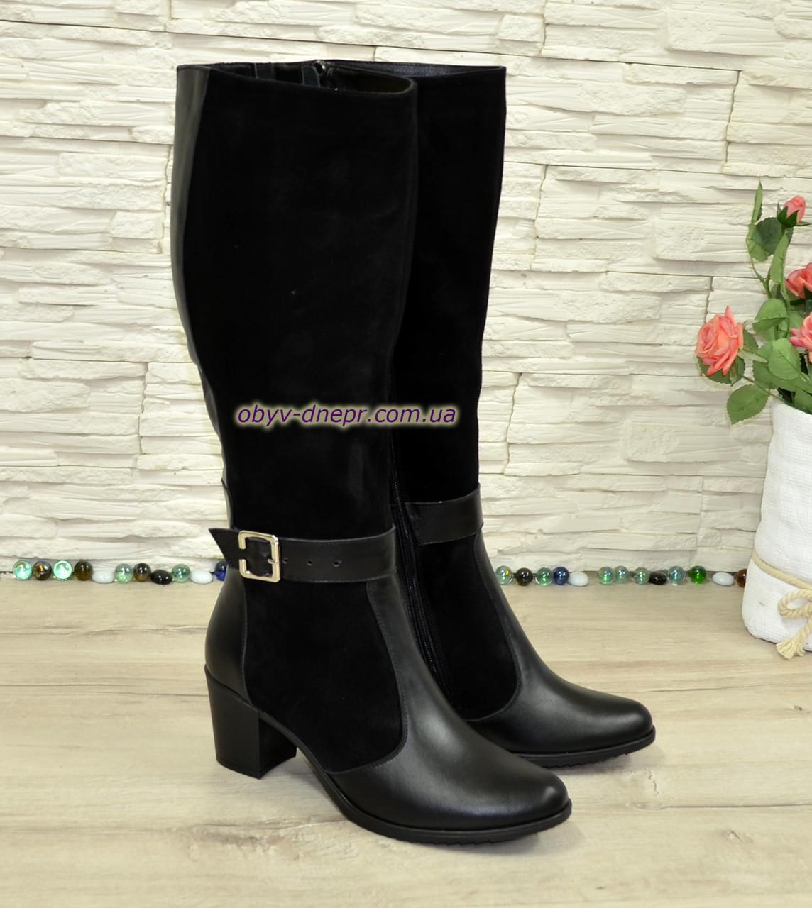 Сапоги зимние женские на невысоком устойчивом каблуке, натуральная черная кожа и замша.