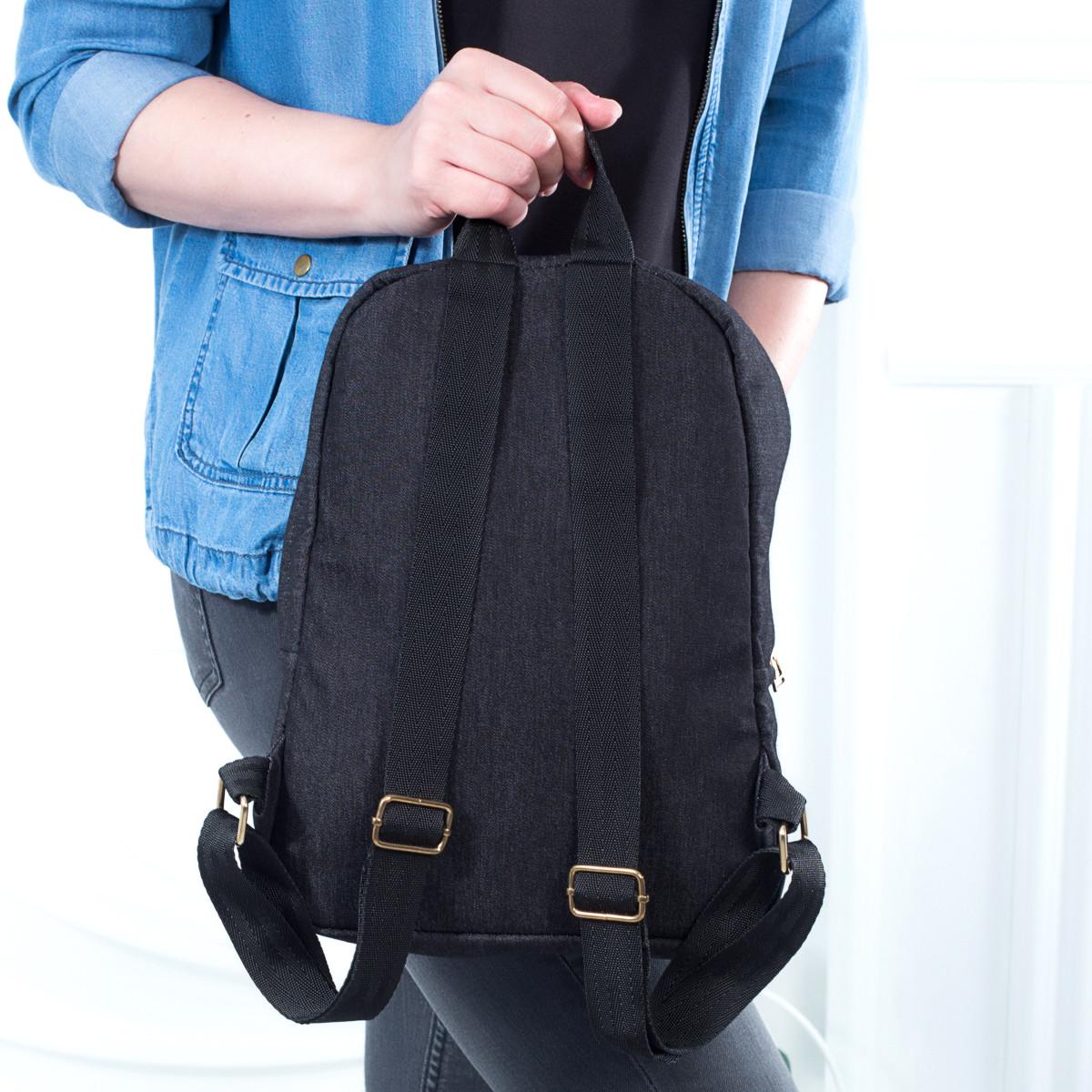 Стильный женский джинсовый рюкзак Mayers с логотипом, фото 2