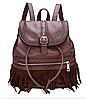 Рюкзак женский кожзам с бахромой Cowboys Backpacks Темно Коричневый