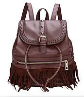 Рюкзак женский кожзам с бахромой Cowboys Backpacks Темно Коричневый, фото 1