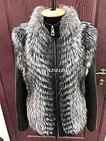 Куртка-трансформер с мехом чернобурки   в шоу руме,в наличии 44 р, фото 1