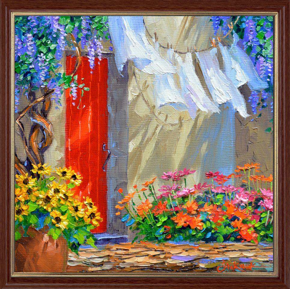 Репродукция  современной картины «В тени постиранного белья» 30 х 30 см