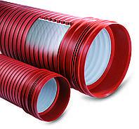 Труба Plasticor с раструбом и уплотнителем 300мм 3000 гофрированная канализационная