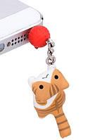 """Заглушка для аудио порта 3,5 мм """"Котёнок с клубком"""". Цвет: рыжий."""
