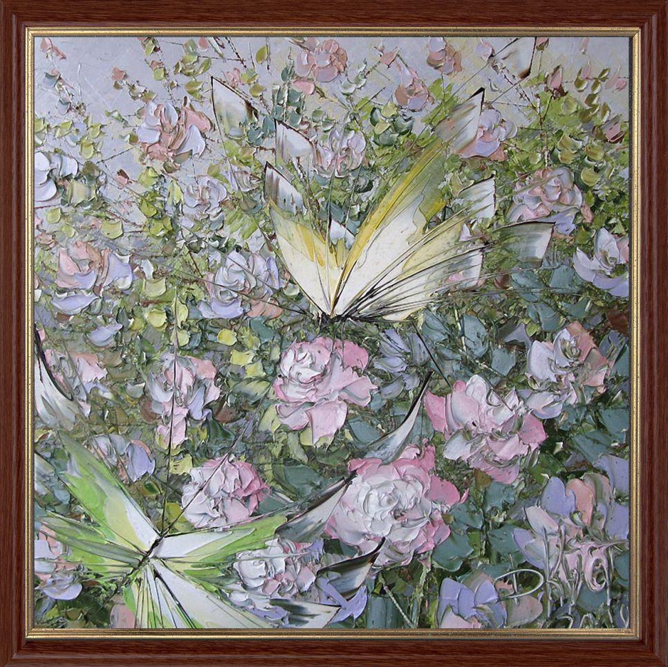 Репродукция  современной картины  «Полёт над розовым кустом» 30 х 30 см