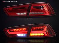 Задние фонари Led тюнинг оптика Mitsubishi Lancer X 10  (красные)