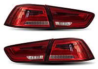 Фонари Mitsubishi Lancer X тюнинг Led оптика (красно-белые)
