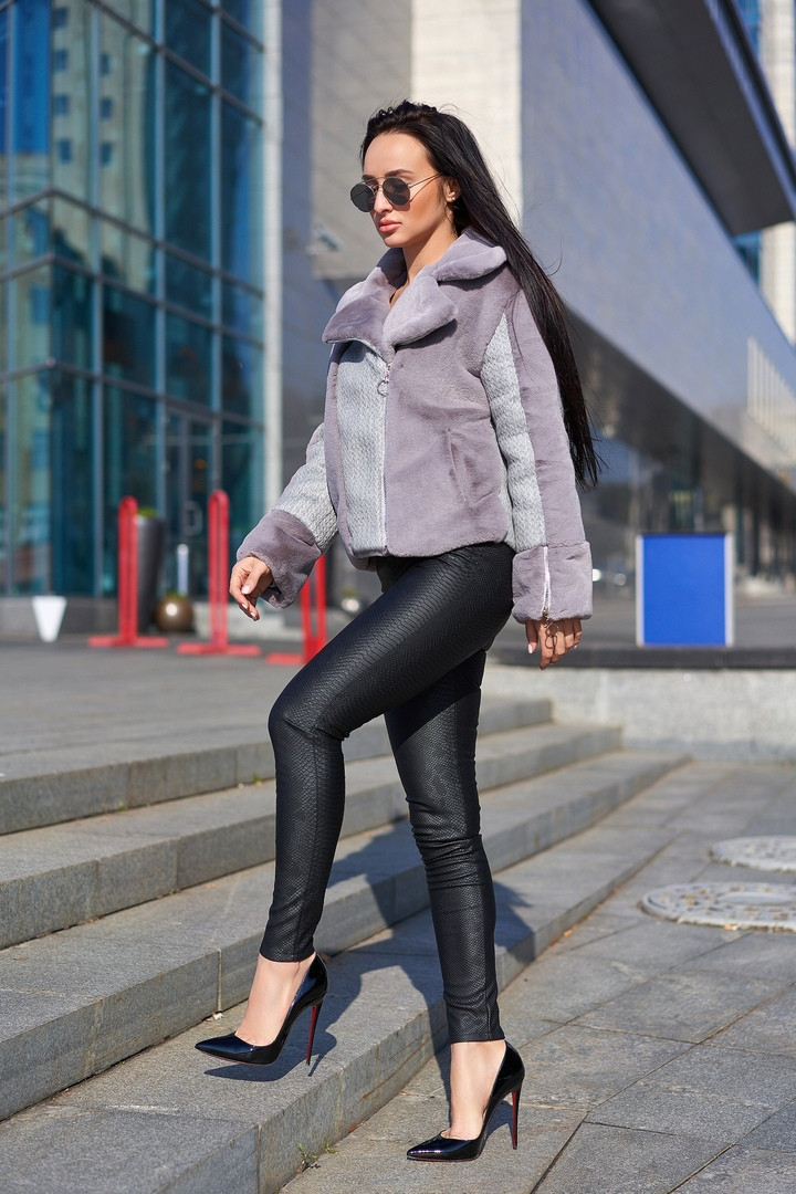 Женская стильная куртка-шубка в расцветках. А-17-1018