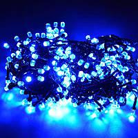 Гирлянда Нить Кристалл LED 500, чёрный провод, синий (1-40)